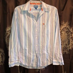 AEROPOSTALE Stripe Long Sleeved Button Front L